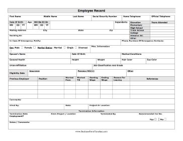 employee record form template employee record template