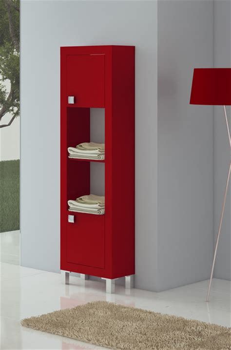 modern bathroom linen cabinets macral bella 17 and 3 4 inches bathroom linen cabinet red matt lacquered modern