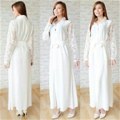 Baju Lengan Panjang Warna Putih baju gaun dress kaftan panjang cantik model terbaru