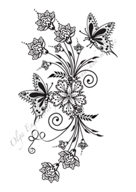 mehndi henna design 23 bouquet with butterflies this