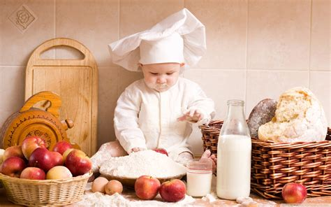 cucina baby chef baby milk food bread cooking chief apples cooks