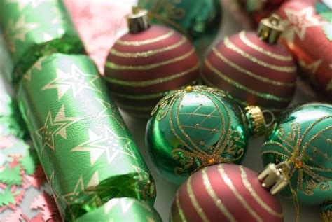 green baubles decorations photo of crackers and baubles free