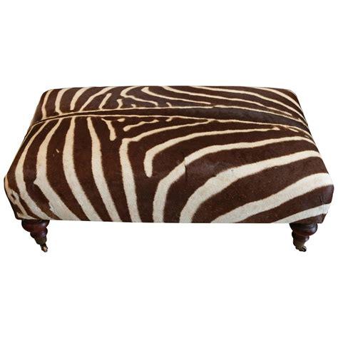 zebra skin ottoman zebra hide ottoman on mahogany frame for sale at 1stdibs