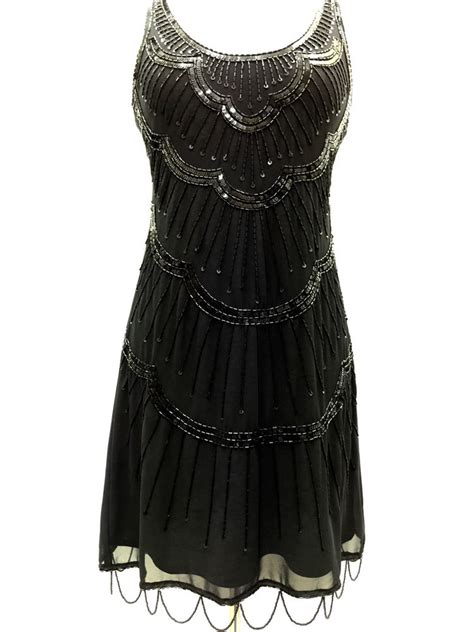 beaded 1920s dress black vintage 1920s flapper gatsby downton fringe