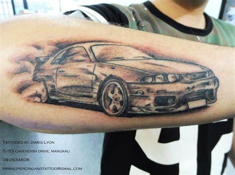 skyline tattoo car portrait black and gray r33 skyline