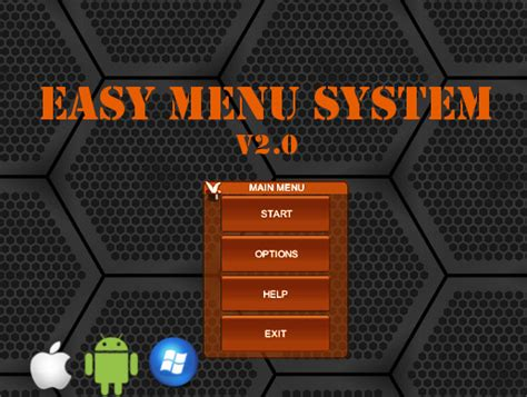 design menu in unity easy menu system asset store
