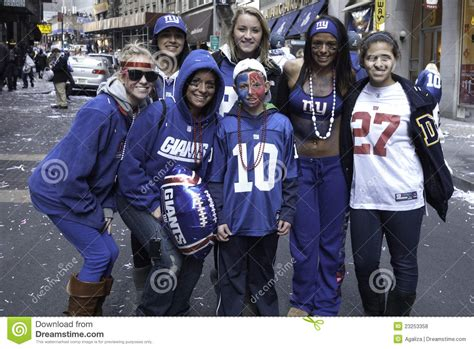 new york giants fans ny giants fans celebrates super bowl win editorial stock