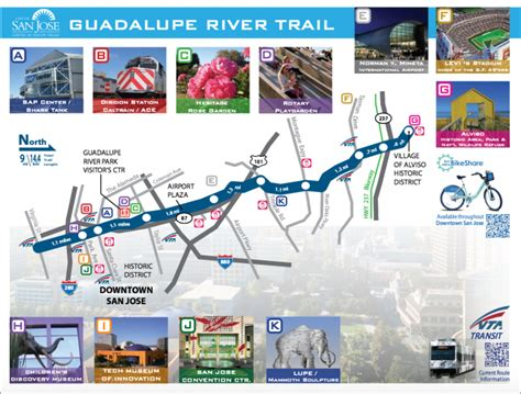 san jose trails map san jose area guadelupe river trail great runs