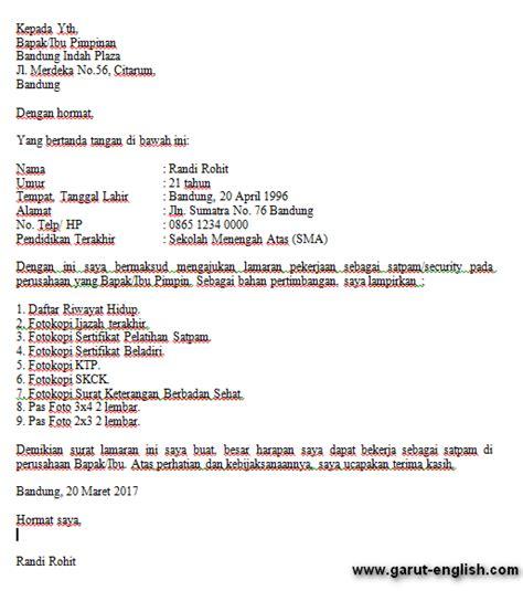 Contoh Surat Lamaran Kerja Terbaru 2017 by Surat Lamaran Kerja Satpam Terbaru 2017 Info Kerja