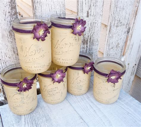 country shabby chic wedding decor rustic wedding jars shabby chic country upcycled