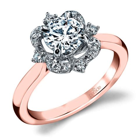 vintage artistic halo diamond engagement ring in white and rose gold by parade
