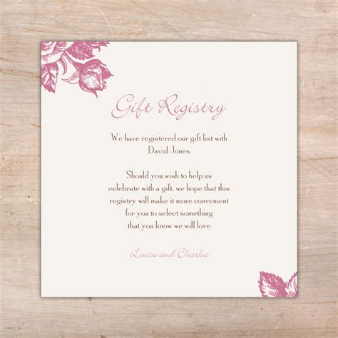 Gift Registry Cards In Wedding Invitations - rose wedding invitations additional card s little flamingo