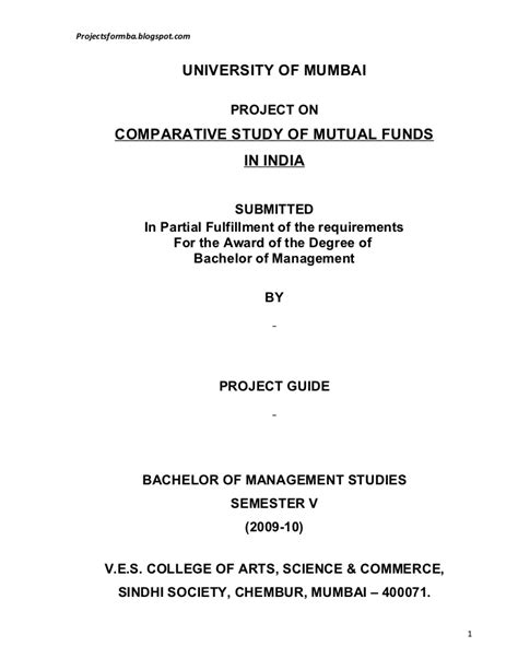 Mba Project On Funds In India by A Project Report On Comparative Study Of Funds In India