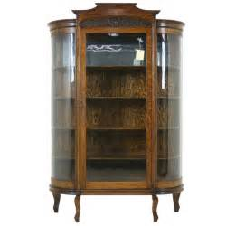 Curio Cabinets Prices Antique American Tiger Oak Bow Front China Display Curio