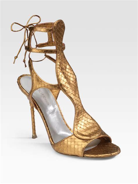 bronze gold sandals sergio python gladiator sandals in gold bronze lyst