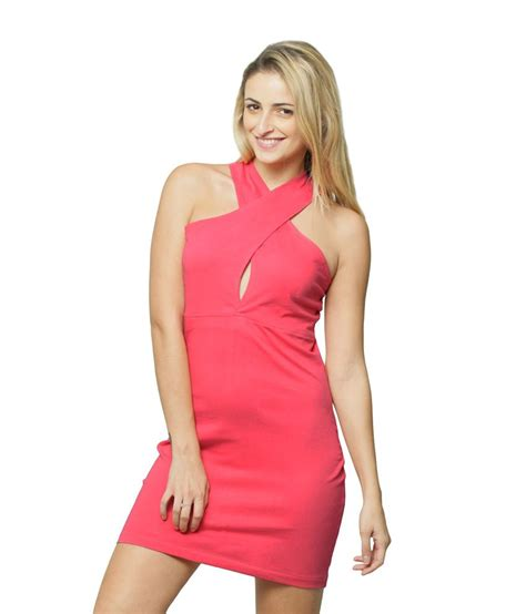 Miss Orange Pink miss pink cotton mini bodycon dresses for sleeveless wear buy miss