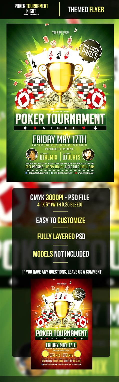 Poker Tournament Night Flyer Template On Behance Tournament Flyer Template Free