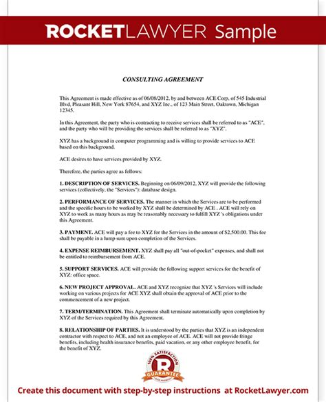 consultant agreement template consulting agreement consulting contract template with