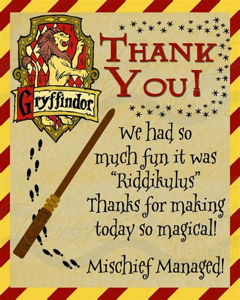 harry potter thank you card template harry potter inspired thank you cards with house crest and
