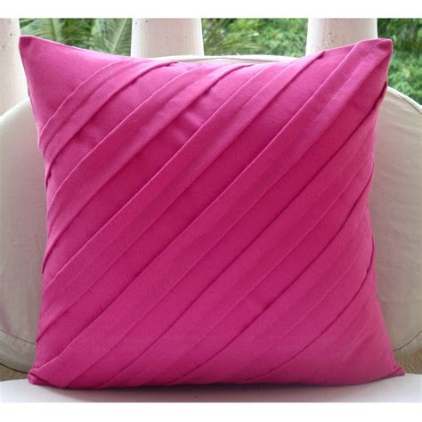 pink patterned cushions fuchsia pink pillows cover square textured pintucks solid