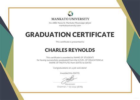 free printable graduation certificate templates certificate of graduation template gallery resume