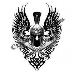 Tattoo on the topic winged helmet and crossed sword tattoo designs