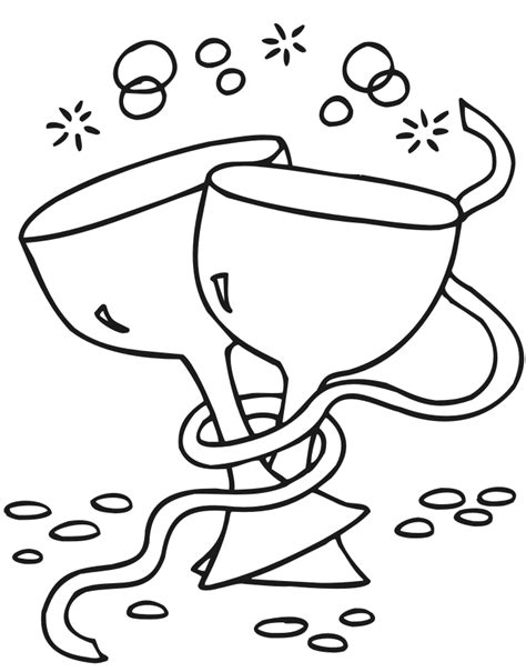 printable new years coloring page 2 wine glasses