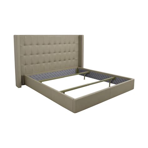 tufted leather bed 68 off roche bobois roche bobois king beige tufted