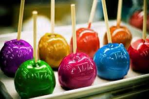 colored chocolate apples of cake