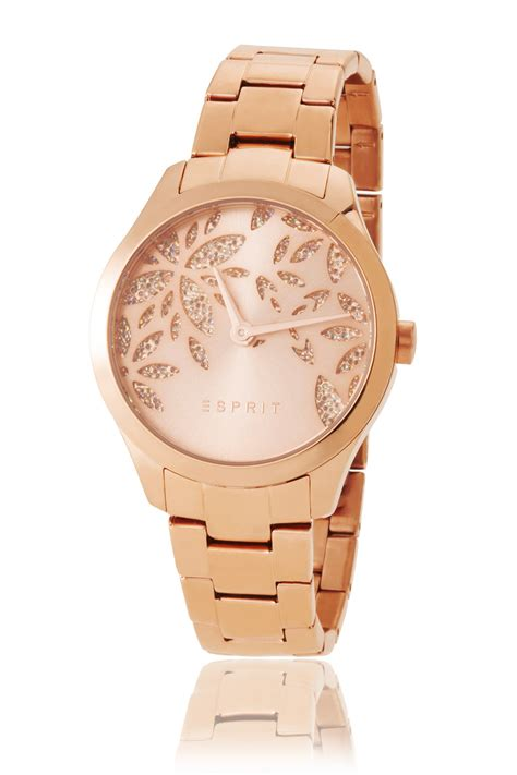 esprit womens golden with zirconia flowers at our