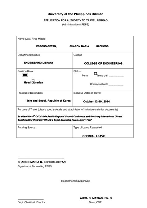 Letter Of Intent Government Philippines Sle Form Request For Travel Authority