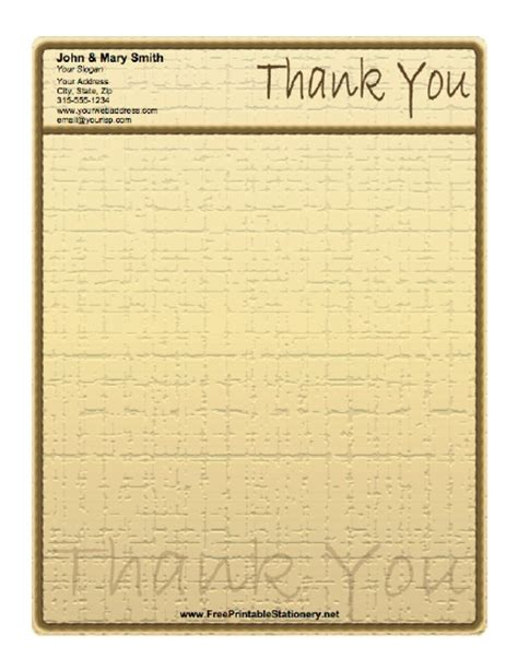 printable lined thank you paper rustic thank you stationery