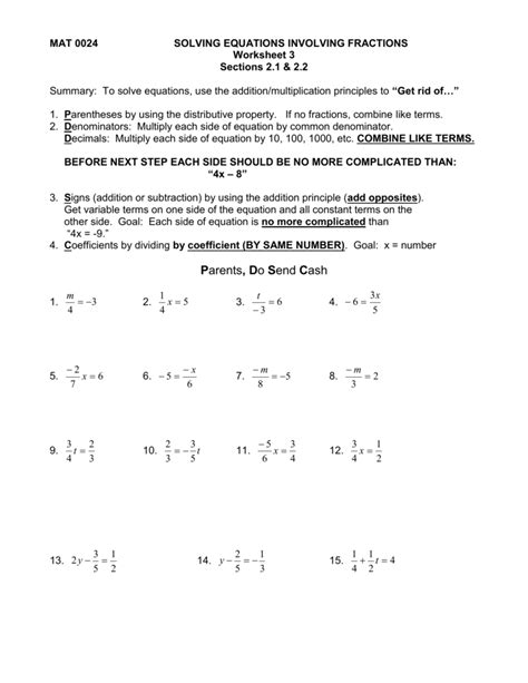 Solving Equations Worksheets