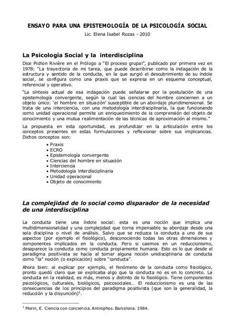 ensayo expositivo de psicologia ensayo para una epistemolog 237 a de la psicolog 237 a social 2010
