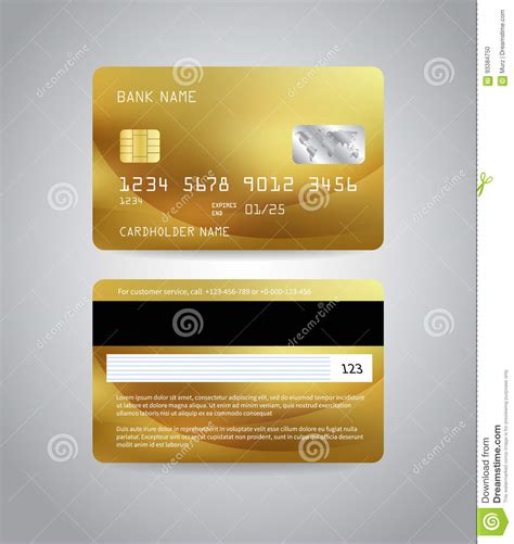 card template with front and back realistic detailed credit card vector illustration