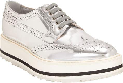 silver platform sneakers prada wingtip brogue platform sneakers in silver lyst