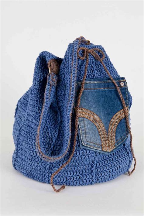 crochet tote bag pattern pinterest upcycled denim bag crochet pdf pattern bolsos