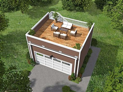 roof top deck plan 68436vr garage with roof top deck garage plans