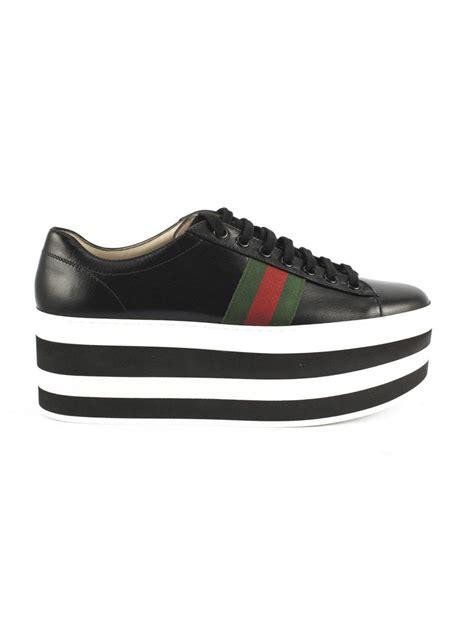 Platform Leather Sneakers gucci black leather platform sneaker nero s