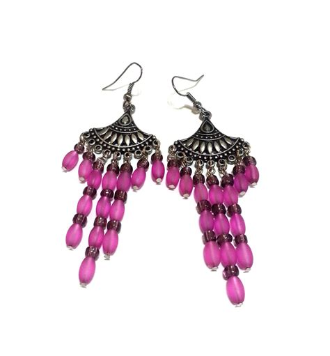 fuschia chandelier earrings fuschia chandelier earrings pink earrings pink and