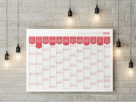 2018 Horizontal Planner Template Big Printable Blank Wall Planner Yearly Wall Calendar Template