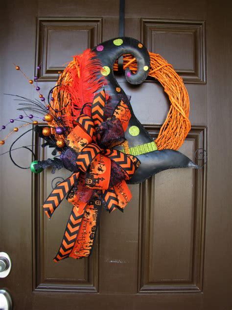 halloween wreath witch hat halloween wreath orange painted grapevine wreath