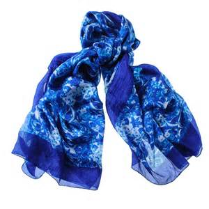 blue and white printed silk scarf to buy