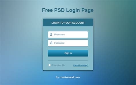 html design of login page free psd login page creatives wall