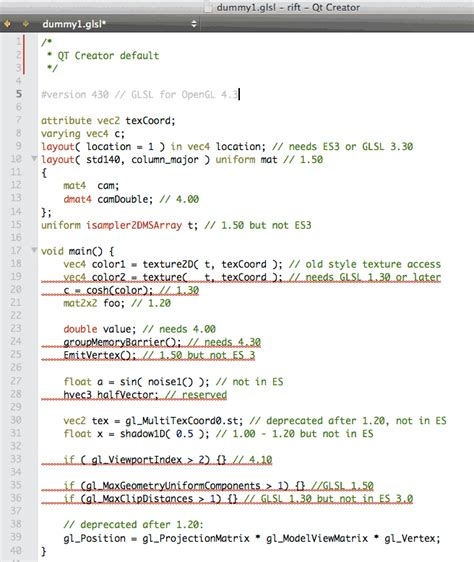 glsl layout qualifier version glsl syntax highlighting for qtcreator and kate