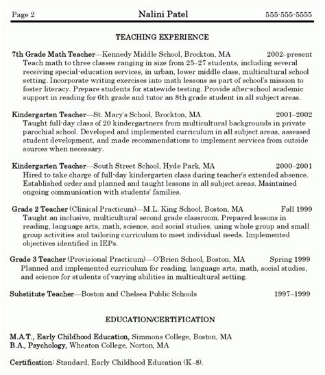math teacher resume sle best resume collection