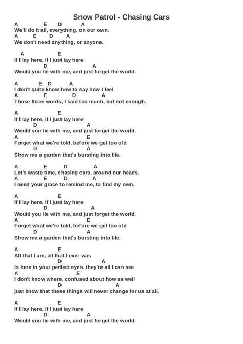 by snow patrol chasing cars lyrics lessons may 2011