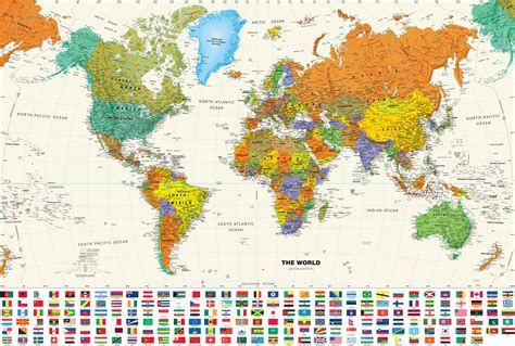 map world flags contemporary world wall map with flags