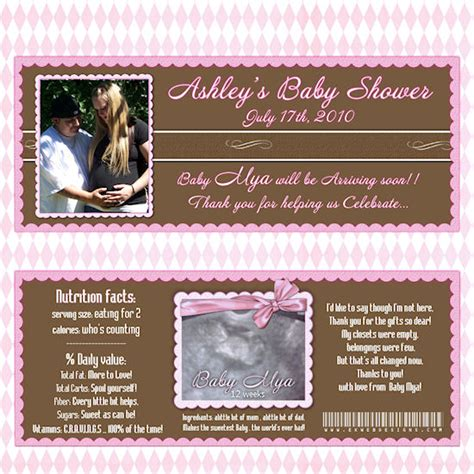 custom wrappers templates custom photo baby shower bar wrappers printable