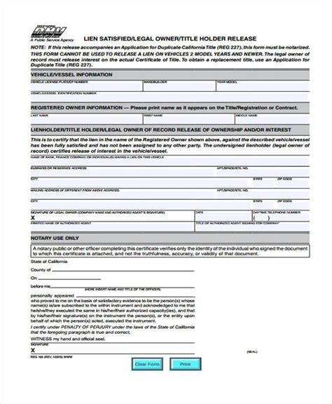 vehicle release form vehicle lien release form vehicle ideas